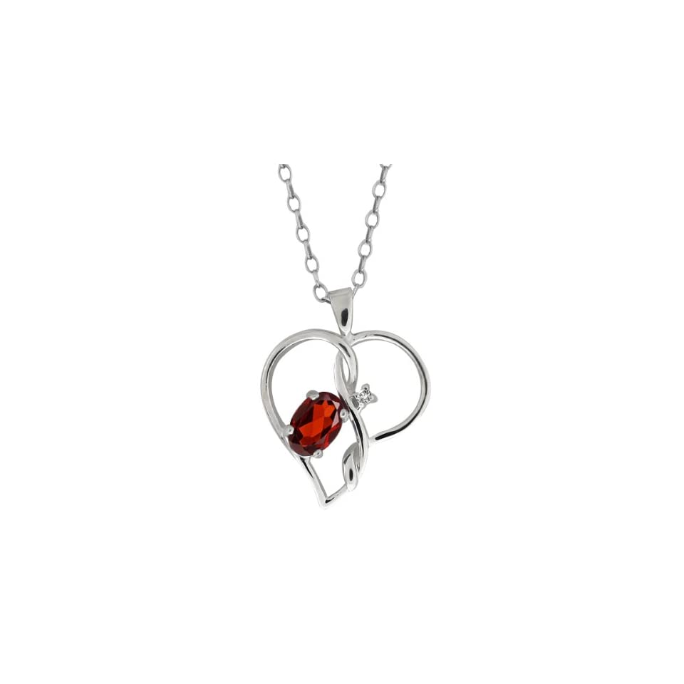 0.56 Ct Oval Red Garnet and White Diamond 18k White Gold Pendant