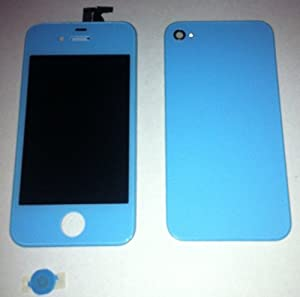 Blue Full Assembly with Touch Screen Digitizer Display, Front LCD, Back Housing, Home Button. No tools included.