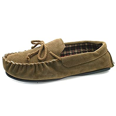 Men's Famous Dunlop Premier Quality Moccasin Slippers Real Suede Uppers Tartan Lining and Hardwearing Sole (7 UK, Camel)