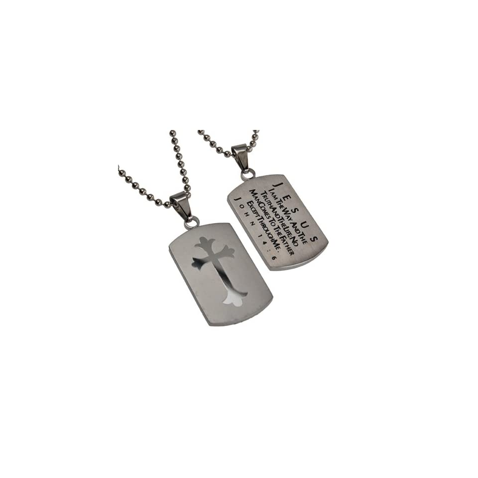 """Christian Mens Silver Stainless Steel Abstinence """"Jesus   I Am the Way and the Truth and the Life; No Man Comes to the Father Except Through Me   John 146"""" Chastity Necklace for Boys on a 24"""" Ball Chain   Guys Purity Necklace Jewelry"""