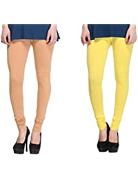 Leggings Free Size Cotton Lycra Churidar Leggings - Pack Of 2 Of Beige & Yellow Colour By SMEXY