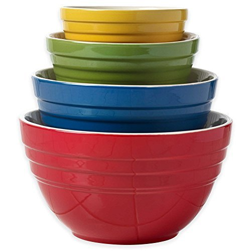 Denmark Tools Ceramic Cooking and Mixing Bowls with Colorful Designs, Set of 4 by Denmark Tools