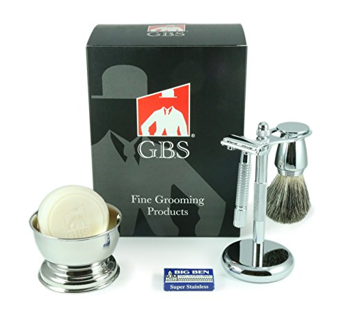 5-Piece-Mens-Shaving-Set-Comes-in-Gift-Box-De-Razor-Badger-Brush-Chrome-Bowl-GBS-Soap-and-Stand