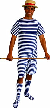 Alexanders Costumes Plus-Size Men's Bathing Suit, Blue/White, 1X