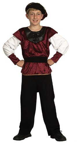Bristol Novelty Black/White/Burgundy Renaissance Prince Costume Boy's 5-7 Years