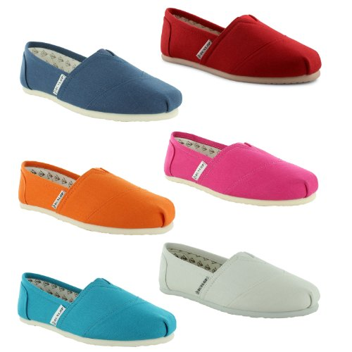 Ladies Womens Girls Dunlop 2013 TT Flat Canvas Espadrille Pumps with Leather Insole Shoes Leather Insoles Slip On