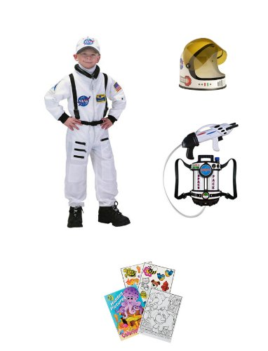 Aeromax White Jr Astronaut Suit Age 6-8 w/ Cap, Waterpack, Helmet, Coloring Book