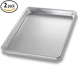 Commercial Aluminum Baking Sheet Pans and 2 Dough Scrapers, 9.5 x 13 Inch Quarter Size, Set of 2