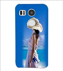 PrintDhaba Hat Girl D-2445 Back Case Cover for LG NEXUS 5X (Multi-Coloured)