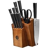 12-Piece Ginsu Chikara Series forged Japanese Steel Knife Set & Finished Hardwood Block (Black)