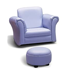 Leatherette Kid's Chair with Ottoman