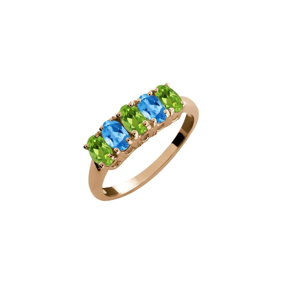 2.60 Ct Oval Green Peridot and Swiss Blue Topaz 14k Rose Gold Ring