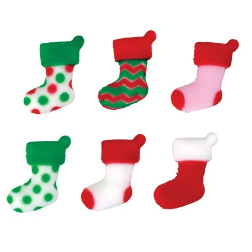 Winter Christmas Elf Stockings Sugar Decorations Cookie Cupcake Cake 12 Count