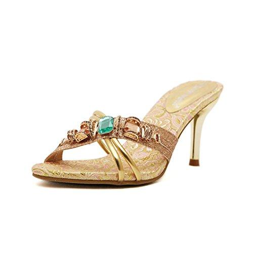 Strass pantoufles à talons hauts/Sexy et élégante/Fin de la fine bande/sandales et pantoufles de gemme de cristal
