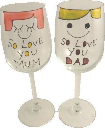 Personnalisé So Love You Mum and Dad Lot de 2 Verres à vin (50 caractères p.. XL.