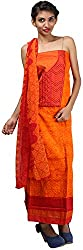Hardy's Style Women's Cotton Dress Material (HS-55, Orange)