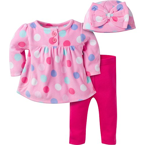 Gerber Girls' Three-Piece Micro-Fleece Top, Large Dots/Pink, 12 Months