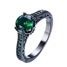 buy Junxin Jewelry Single Round Main Stone Women Engagement Ring Emerald Color Size7