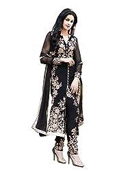 Yeoja Creation Women's soft Semi-Stitched Salwar Suit (YA01_Black_Free Size)