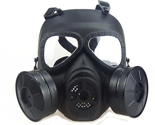 Myheartgoon Airsoft Paintbal Dummy Gas Mask Fan for Cosplay Protection Zombie Soldiers Halloween Masquerade Full Face Skull Mask Anti - Fog Ventilation Equipment (black) (Airsoft Gas Mask compare prices)