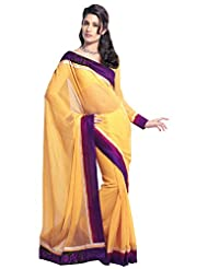 Anvi Creations Georgette Embroidered Yellow Saree (Yellow_Free Size)