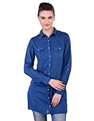 Oxolloxo Women Blue Long Shirt