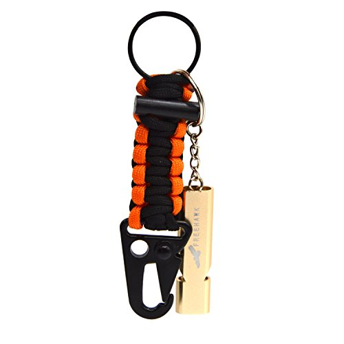 Freehawk® Aluminum SOS Popping Whistle Ultra High Frequency Resonance Survival Whistle Defensive Signal Whistle + Firestarter Braided Paracord Flint Keychain for Camping, Hiking, Climbing Emergency (Flint Ring compare prices)