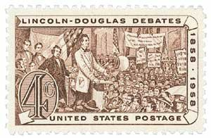 #1115 - 1958 4c Lincoln Douglas Debates Postage Stamp Numbered Plate Block (4)