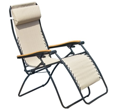 Pacific outdoors la chaise outdoor patio recliner tan - Chaise camping lafuma ...