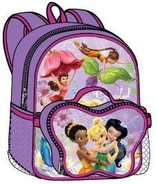 Tinkerbell 4 in 1 Special - Walt Disney Tinkerbell One Large backpack with Detachable Lunch Bag, Tinkerbell One Toddler Rolling Backpack and Tinkerbell Two Water Bottles Set