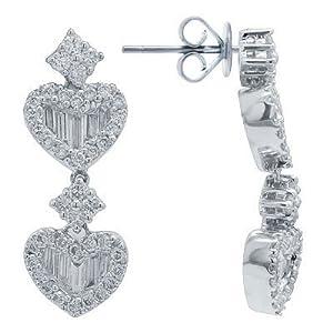 Diamond Heart Earrings in White 18K Gold