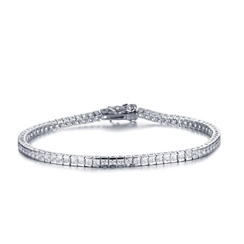 Mia Sarine Womens 18Ct White Gold Sterling Silver Half Bezel Cubic zirconia Tennis Bracelet