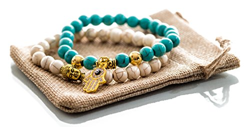 Gems of Peace - Antique White & Turquoise with Gold Charm Hamsa Buddha Bracelets