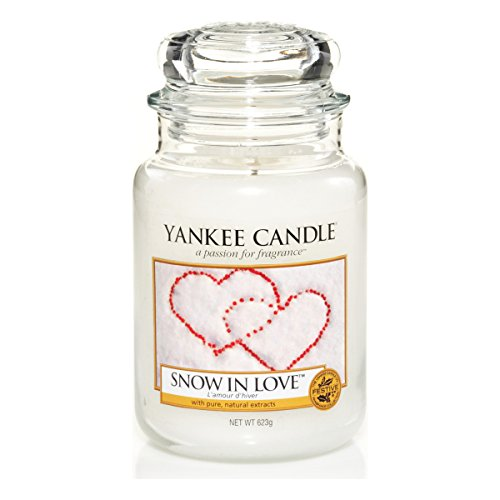 Yankee candle 1249712E Snow In Love Candele in giara grande, Vetro, Bianco, 10.1x10.1x17.2 cm