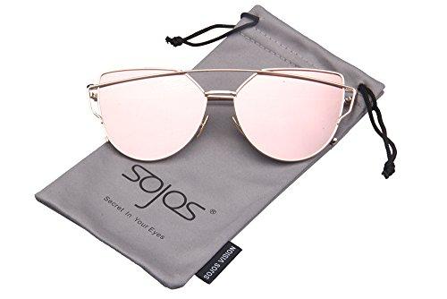 SojoS SJ1001 Cat Eye Mirrored Flat Lenses Street Fashion Metal Frame Women Sunglasse With Gold Frame/Pink Lens