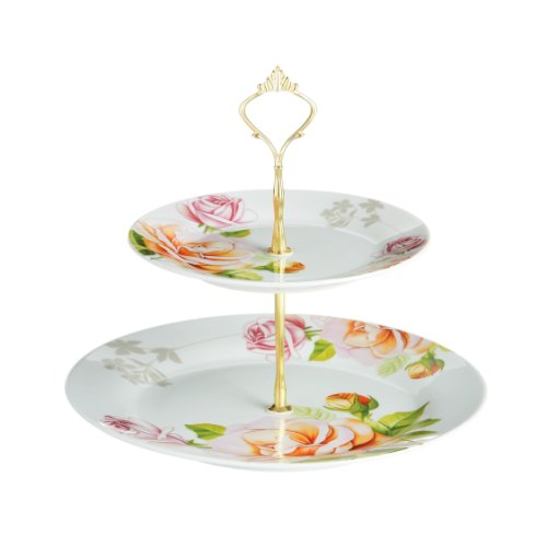 Premier Housewares 2-Tier Peach Rose Porcelain Cake Stand