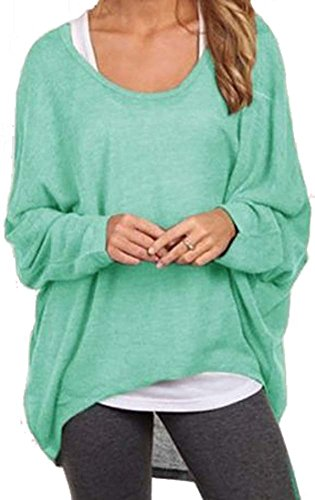 Women Casual Loose Fit Oversized Baggy Shirt Hi-low Long Sleeve Pullover Tops