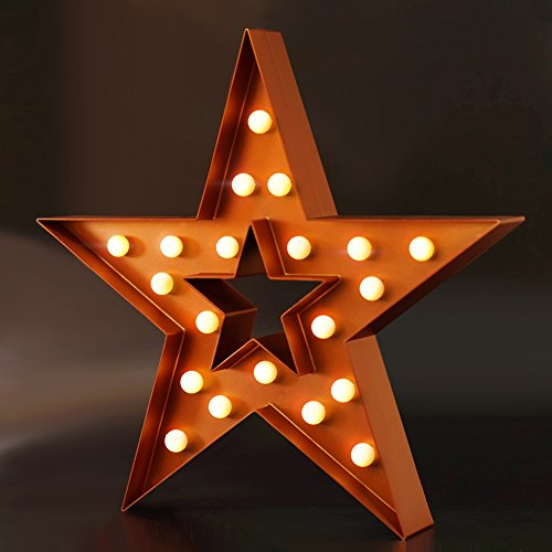 """BRIGHT ZEAL Decorative Marquee Sign STAR LED Lights (Cinnamon, 16"""" x 15"""" x 2"""", Big, Batteries Included) - Lighted Marquee STAR Sign - LED Hanging Light Fixture - Seasonal Home Decor Lights"""