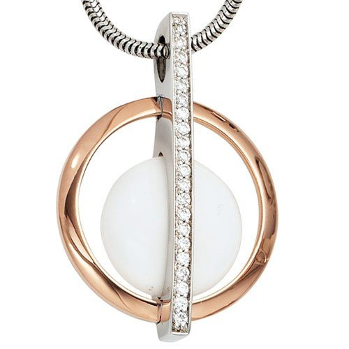 White Agate Pendant & Zircons 925 Silver Rose Gold Ladies 20 Part