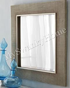 Large 34 square silver champagne wall mirror for Big square wall mirror
