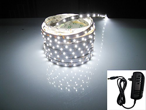 Led2020 Plug-N-Play Waterproof White (6500K) Led Flexible Light Strip, 2A@12Vdc, 24Watt, 300 Smd 3528 Leds, 16.4 Ft, Wire Jumper Included, Power Supply Included