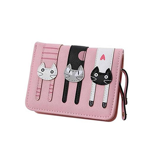 Cyber Monday Clearance Sale Day 2016 Valentoria Birthday Gifts for Women's Mini Faux Leather Bifold 3 Cat Design Clutch Wallet(Pink)
