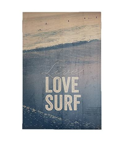Panel Madera Deco Live Love Surf