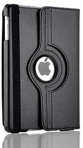 JAMMYLIZARD | SCHWARZ 360 Grad rotierende Ledertasche Smart Case Hülle für das neue iPad Mini 3, iPad Mini 2 mit Retina Display und iPad Mini (1. Generation) voll kompatibel mit der Sleep-Funktion, inkl. Displayschutzfolie