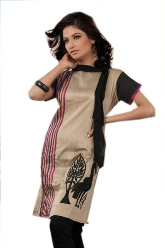 Indian Traditional Embroidered Work Silk Cotton Kurta