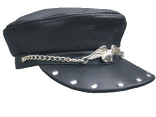 Leather Biker Cap Hat with Big Eagle, Studs Annd Chain Genuine Leather