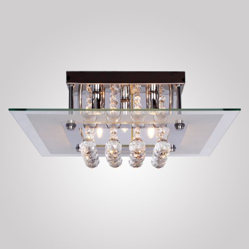 Lightinthebox Modern/Comtemporary Crystal Drop Flush Mount Ceiling Lights Fixture With 5 Lights In Square Design, Bulb Included, Mini Style, Crystal