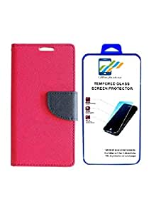 Mobi Fashion Flip Cover For Micromax Unite 2/A106 With Tempered Glass - Pink