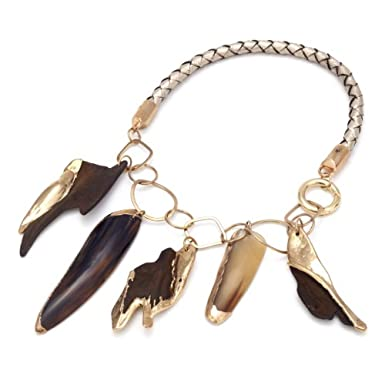 Gold Dipped Horn & Wood Necklace by Leju||RF10F