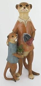 """Meerkat Figurines (G41)- 10"""" High Father & Son Meerkat Figures - Gardening"""